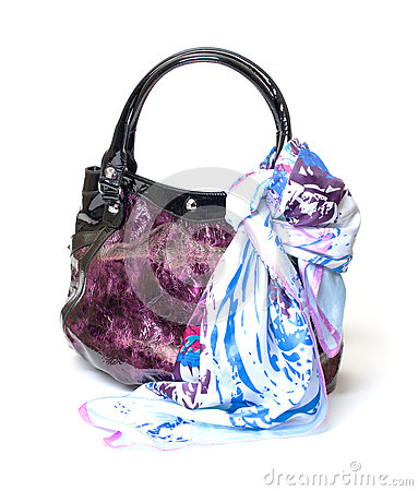 Vibrant Leather Ladies Handbag with Handkerchief