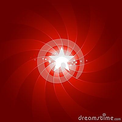 Vibrant red light burst with shining center star