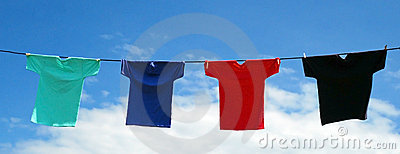 Vibrant Shirts on a Line