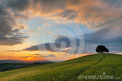 Vibrant sunset over Tuscany