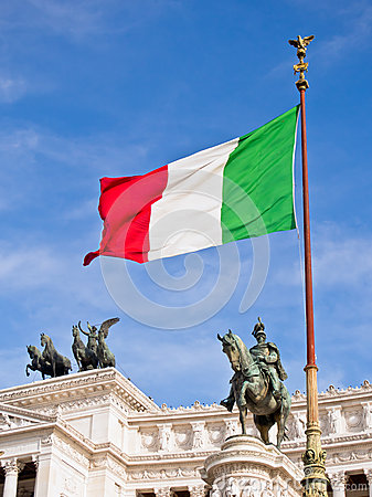 Victor Emmanuel II Monument and Italian Flag, Rome