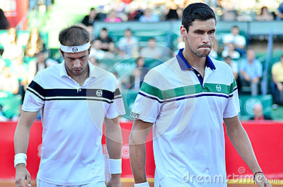 Victor Hanescu and Gilles Muller Editorial Photo