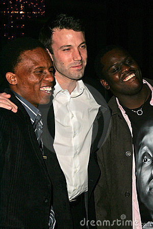 Victor Mohale with Ben Affleck and Archie Khambula Editorial Stock Image