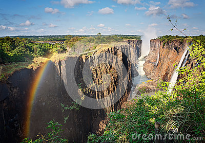 Victoria Falls, Zambia, and rainbow