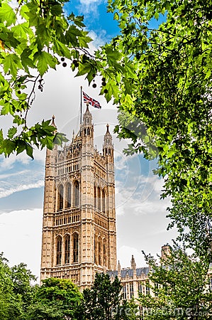 Victoria Tower in The Houses of Parliament in London, England