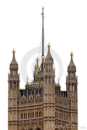 Victoria Tower of Westminster Palace isolated on white background, London - UK