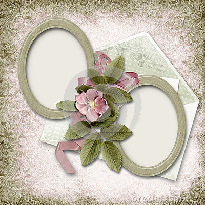 Victorian background with old photo-frame and rose