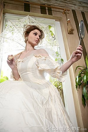 Free Victorian Beautiful Woman, White Dress At Home Stock Photos - 8055043
