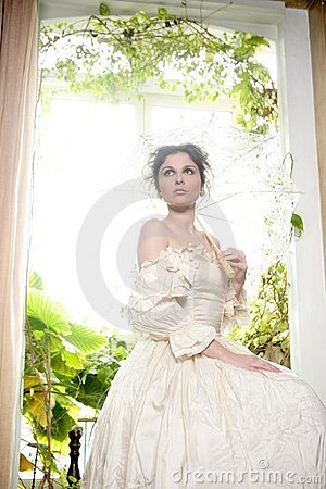 Free Victorian Beautiful Woman, White Dress At Home Royalty Free Stock Photos - 8065398