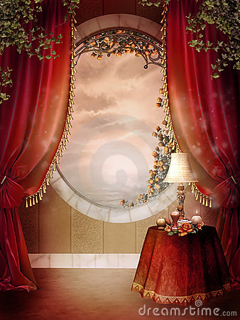Free Victorian Bedroom With Red Curtains Royalty Free Stock Photography - 18667267