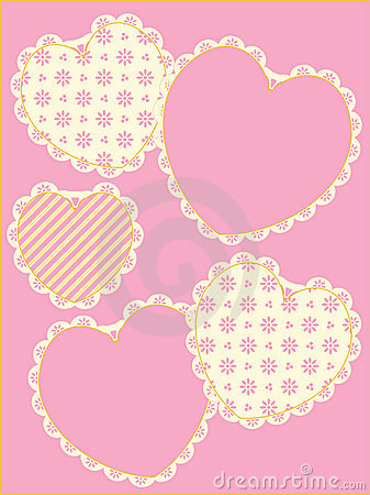 Victorian Eyelet Trimmed Hearts and Copy space