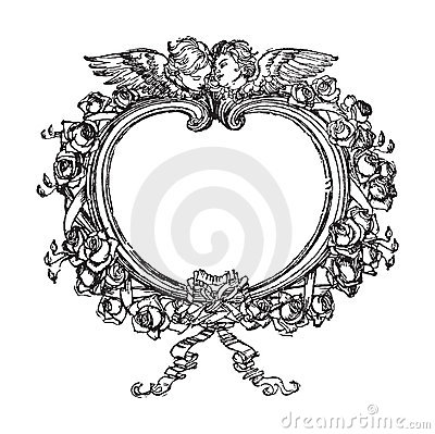 Victorian floral frame with angels illustration