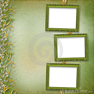 Victorian frame with bunch of willows