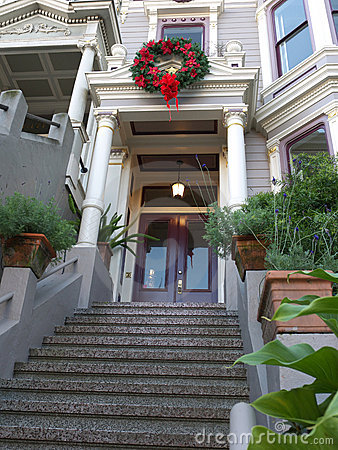Victorian house entrance with Christmas decoration