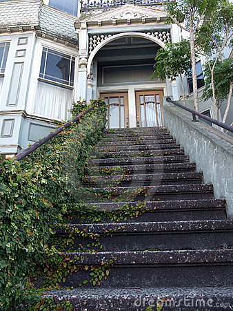 Victorian House Entrance, Ivy Covered Stairs Royalty Free Stock Image - Image: 12286466