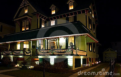 Victorian House at Night