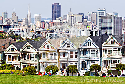 Victorian houses in San Francisco Editorial Photography