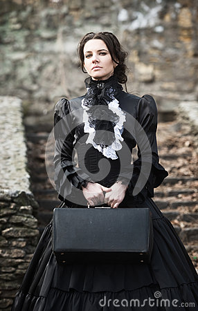 Free Victorian Lady In Black. Stock Images - 94356944