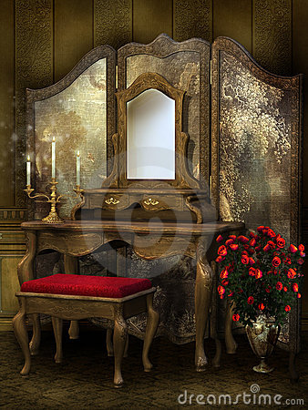 Free Victorian Room With Roses Stock Photo - 18667560