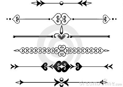 Victorian rule lines or scrolls Vector Illustration