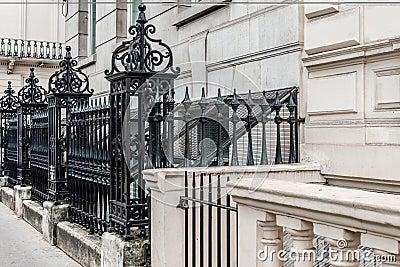 Victorian street black metal fence
