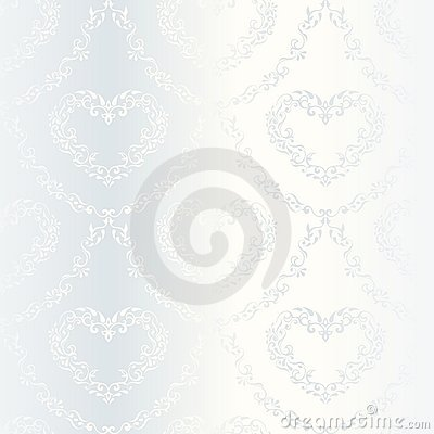 Free Victorian White Satin Wedding Pattern With Hearts Royalty Free Stock Images - 10260169