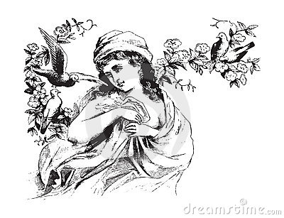 Victorian woman with birds vintage illustration