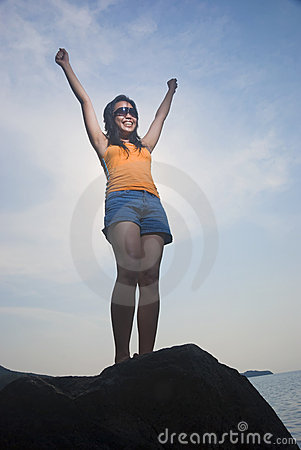 Victorious Asian Woman