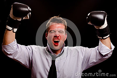 Victorious boxing businessman