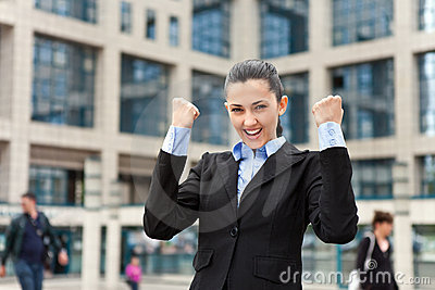 Victorious businesswoman