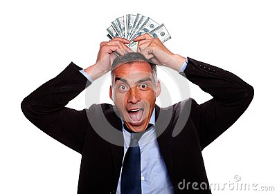 Victorious mature person with cash money
