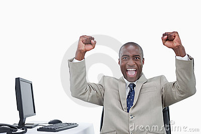 Victorious salesman with the fists up