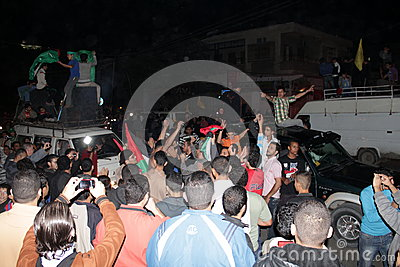 Victory celebrations in Gaza Editorial Stock Photo