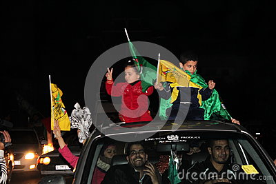 Victory celebrations in Gaza Editorial Stock Image