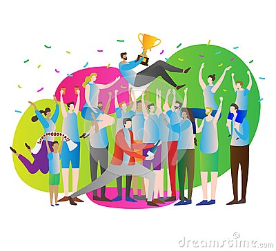 Free Victory Crowd Vector Illustration.Celebration And Party. Athlete Leader With Gold Cup And Fans, Supporters With Hands Up. Stock Photo - 122097880