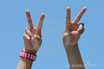 Victory hand signal