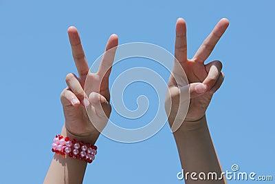 Victory hand signal
