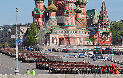 Victory parade rehearsal: infantry formations Editorial Image