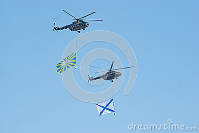 Victory parade rehearsal: Mi-8 with flags Editorial Photo