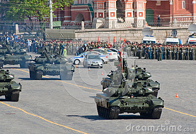 Victory parade rehearsal: T-90 battle tanks Editorial Photography