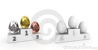 Victory Podium - Eggs of Metal and White