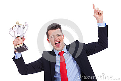 Victory roar of a young businss man