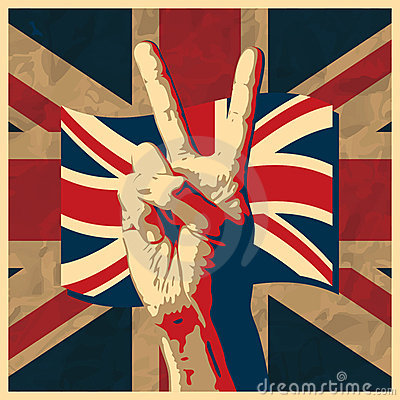 Victory sign with UK flag
