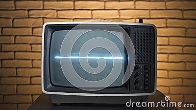 Vidéo de télévision rétro avec télévision analogique banque de vidéos