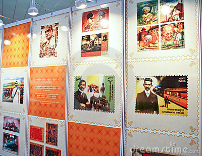 Vida de Mahatma Gandhi comemorada em selos Foto Editorial