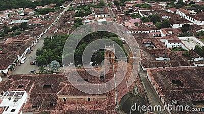 Video aereo del fuco di Barichara in Colombia stock footage