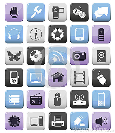 Video audio and multimedia icons set