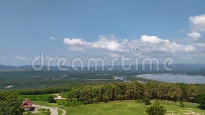 Video-beelden van 4.000 Grote kijkhoek groot reservoir in Thailand Het milieu Natuur panorama mooi Vakantiereisscène stock footage