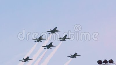 Blue angels breaking out of fleur de lis formation slow motion stock video