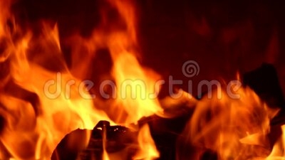 Video bright fire in a fireplace stock footage